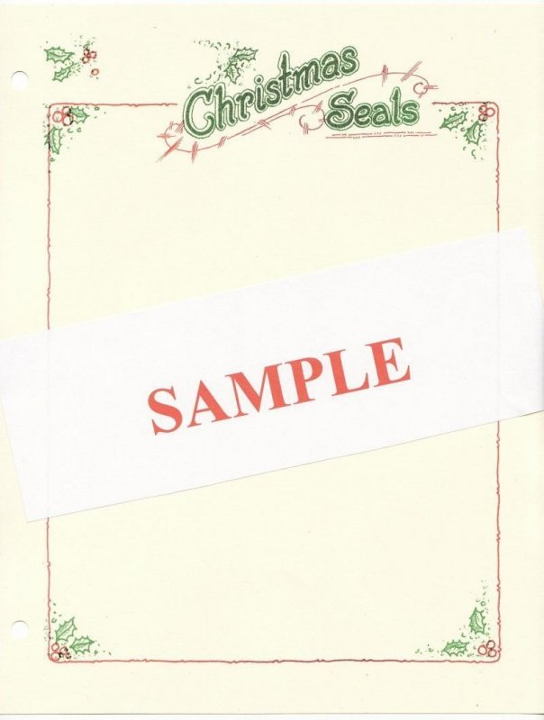 Christmas Seal Stamp Album Pages, White pages with color heading and border