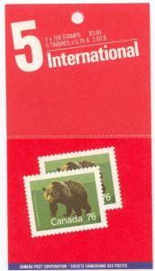 Canada - #BK105b 1989 Grizzly Bear Booklet Lunch Savers mint - Cat. $22.00