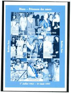 Burkina Faso 1997 Pope John Paul II Princess Diana Blue Proof RARE