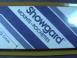 SHOWGARD MOUNTS # 22--215MM LONG x 22MM WIDE---22 STRIPS---BLACK /NEW