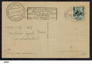 Italy 1953 Giro d'Italia Cycling Theme Postcard