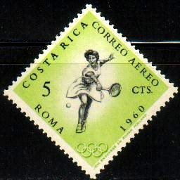 Woman Tennis Player, 17th Olympic Games, Rome, 1960, Costa Rica SC#C307 Mint
