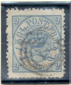 Denmark Sc 11, 1865 2 s Royal Emblems stamp used