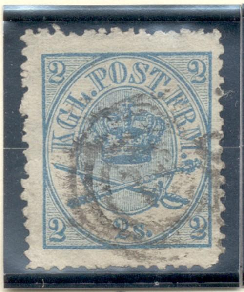 Denmark Sc 11, 1865 2 s Royal Emblems stamp used