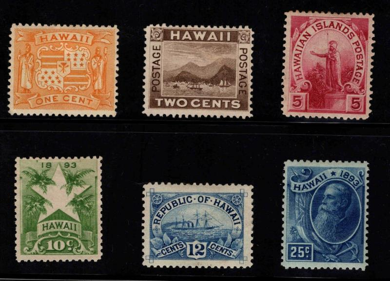 Hawaii Scott 74-79 Mint 1894 set, selected for color and centering