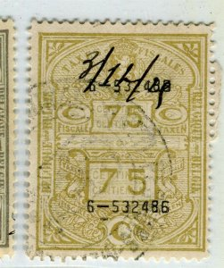 BELGIUM; Early 1900s fine used TAXES FISCALES Revenue issue used value, 75c