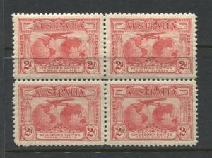 Australia 1931 Kingsford-Smith Flights set of 3 in unmounted mint blocks of 4