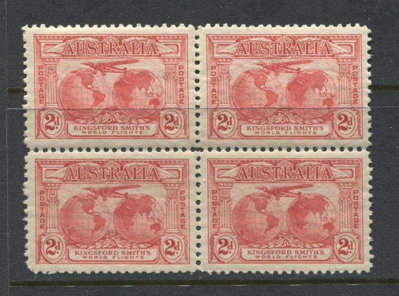 Australia 1931 Kingsford-Smith Flights set of 3 in unmounted mint blocks of 4