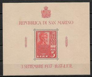 1938 San Marino 187  5L Dedication of a Lincoln Bust MNH OG S/S