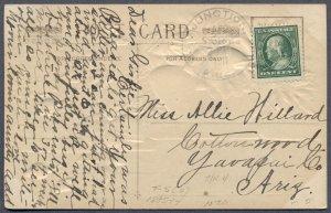 ARIZONA TERRITORY: 1911 JUNCTION Cancel on Postcard; DPO - Yavapai County
