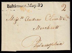 US 1790 Baltimore May 30 Straightline cancel to Philadelphia