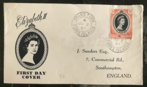 1953 Turks Island First day Coronation cover FDC Queen Elizabeth II QE2 To Uk
