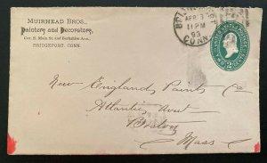 1893 Bridgeport CT USA Advertising Stationery Muirhead Bros Cover To Boston MA