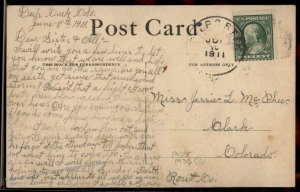 USA 1911 DEEP CREEK Routt Co Colorado DPO Cover Postcard 94187