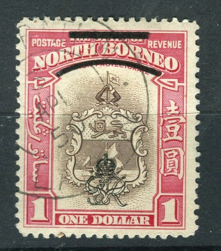 NORTH BORNEO; 1947 early Crown Colony issue fine used $1. value, Postmark