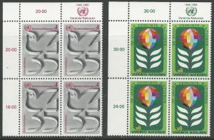 UN-VIENNA # 12-13 U.N. 35th Anniversary M.I. 4 blocks  (2)  Mint NH