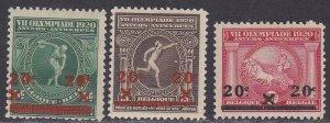Belgium Sc #140-142 MNH; Mi #162-164