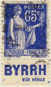 FRANCE - 1937 Pub BYRRH (Vin Vieux) inférieure sur Yv.365b 65c Paix - obl. TB