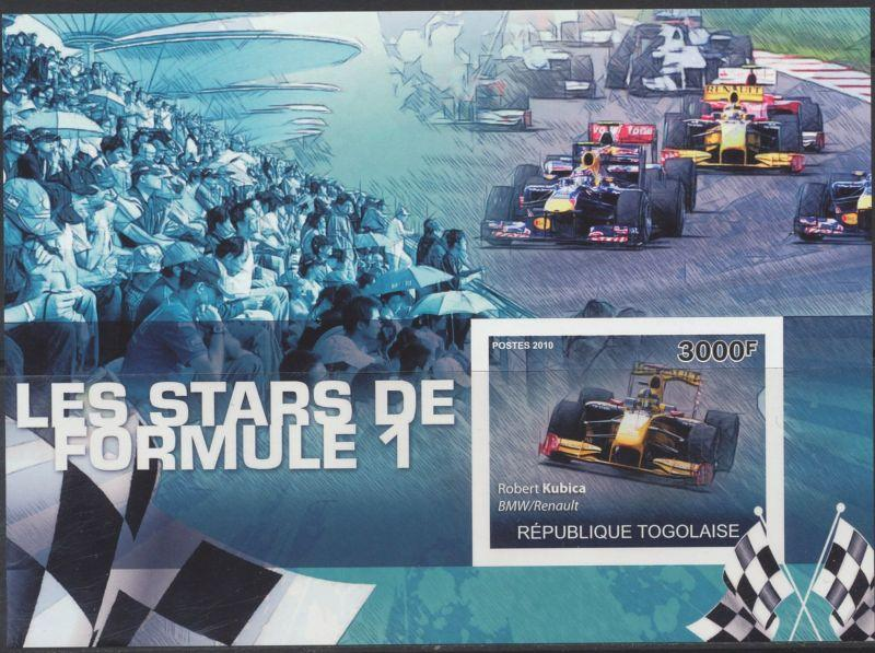 TOGO TOGOLAISE SHEET IMPERF SPORTS F1 FORMULA 1 CARS RACING