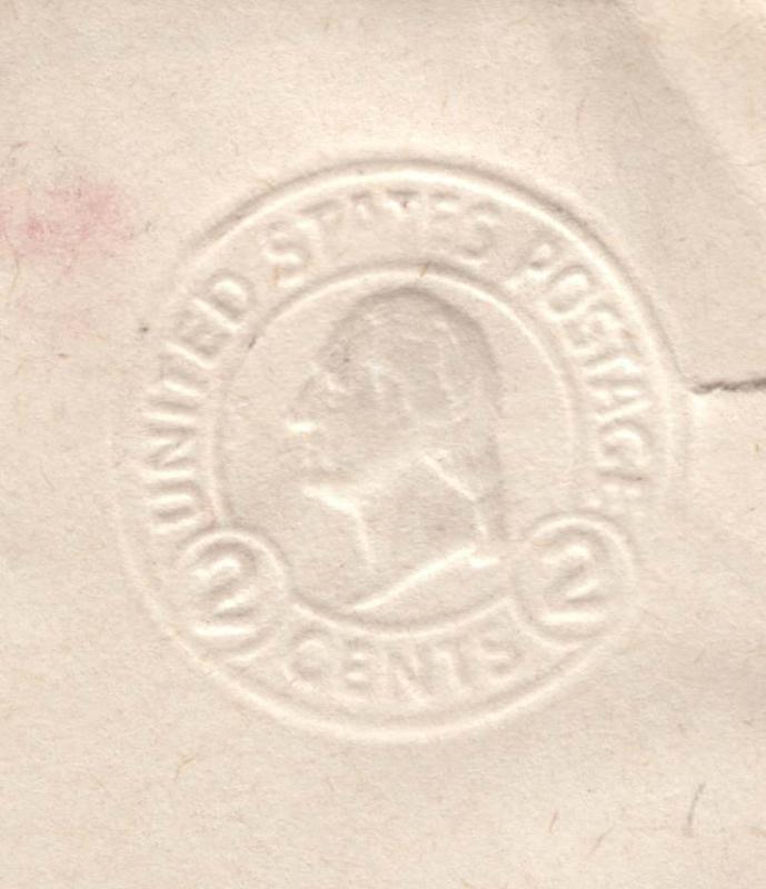 USA Higgins & Gage 392 with ALBINO impression of stamp