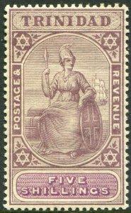 TRINIDAD-1901-06 5/- Lilac & Mauve.  An average mounted mint toned gum Sg 132
