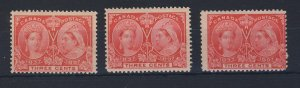 3x Canada Victoria Jubilee Mint Stamps #53-3c MNH GC Fine+ Guide Value= $50.00