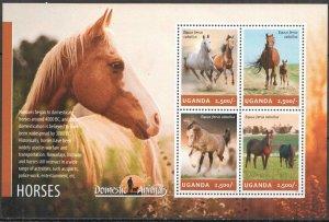 UG006 2014 UGANDA HORSES FAUNA DOMESTIC ANIMALS #3300-3303 MNH