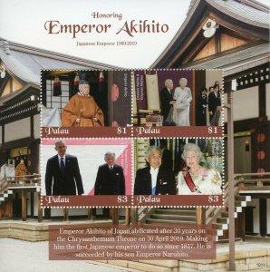 Palau 2019 MNH Emperor Akihito Queen Elizabeth II 4v M/S Royalty Stamps