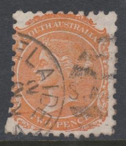 South Australia 1876 QV Sc# 65 Used  Curved Perf Error bottom left