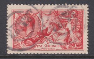 Great Britain Sc 174 used 1913 5sh carmine rose Seahorses, Waterlow printing