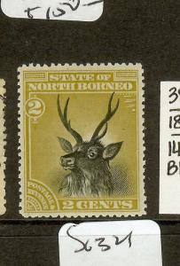 NORTH BORNEO (P2312B) 2C DEER 1897 PERFORATED COLOR TRIAL IN BRONZE  MOG