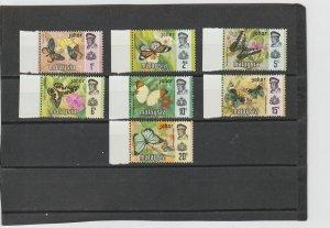 Johore  Scott#  176-182  MH  (1971 Butterflies)