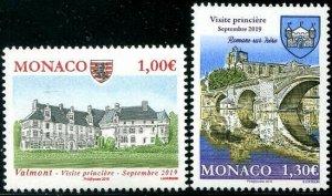 HERRICKSTAMP NEW ISSUES MONACO Sc.# 2986-87 Castles Valment & Romans-Sur-Isere
