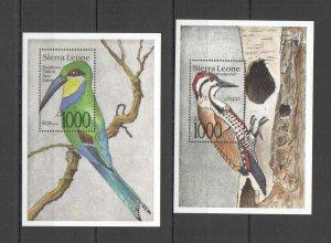 Z0209 SIERRA LEONE BIRDS BEE-EATERS WOODPECKERS FAUNA 2BL MNH