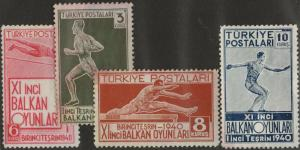 TURKEY MNG or Used Scott # 855-858 Balkan Olympics - staining (4 Stamps) -1