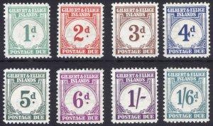 Gilbert & Ellice 1940 1d-1/6d Post Due SG D1-D8 Sc J1-J8 VLMM/MVLH Cat£180($254)