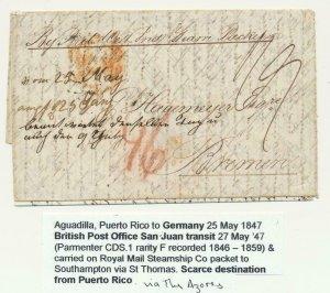PUERTO RICO-GERMANY 1847 LETTER BRITISH PO IN SAN JUAN VIA ST THOMAS & S'HAMPTON