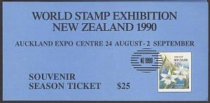 NEW ZEALAND 1990 Orchids mini sheet IMPERFORATE in Exhibition folder......29001a