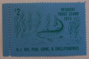 United States Revenue New Jersey Resident Trout Fishing 1974  MNH
