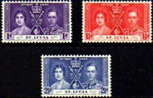 St-Lucia 1937 , Coronation MNH # 107-109