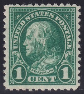 US STAMP #552 Series of 1922-25 1¢ Benjamin Franklin Flat Plate Printing mh/og