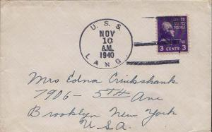 United States Ships 3c Jefferson Prexie 1940 U.S.S. Lang Type 3 DD 399 to Bro...