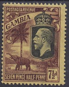 GAMBIA 1922 KGV ELEPHANT 71/2D WMK MULTI SCRIPT CA