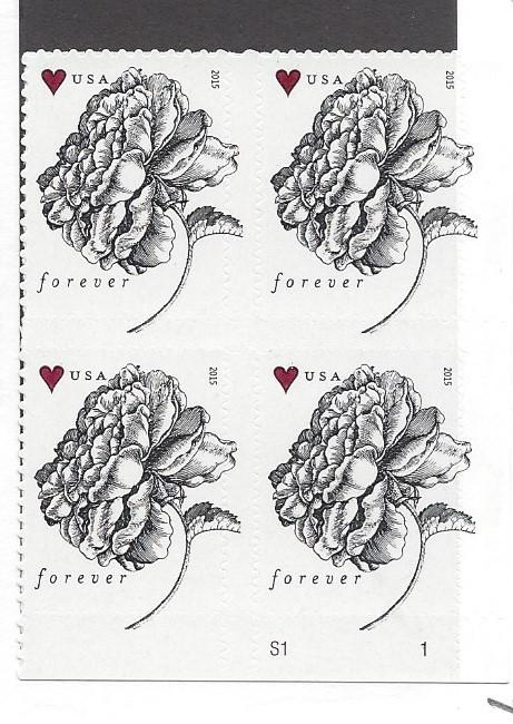 United States, 4960, Flowers Plate Block of 4, Plt.# S1 LR, MNH