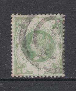 Great Britain Sc 122 used 1887 1sh green Queen Victoria, F-VF appearing