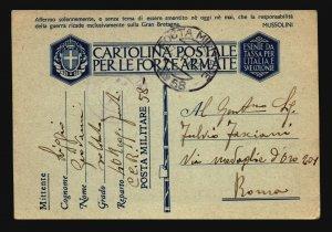 Libya 1941 Tobrick APO Card to Rome - Z17697
