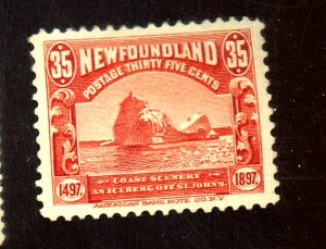 Newfoundland #73 MINT FVF OG HR Small Thin Black Residue on Gum Cat$120