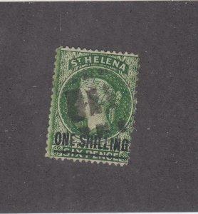ST. HELENA  # 39 VF-USED 1sh on 6p 1894 QUEEN VICTORIA / LONG BAR O/PRINT CV $30