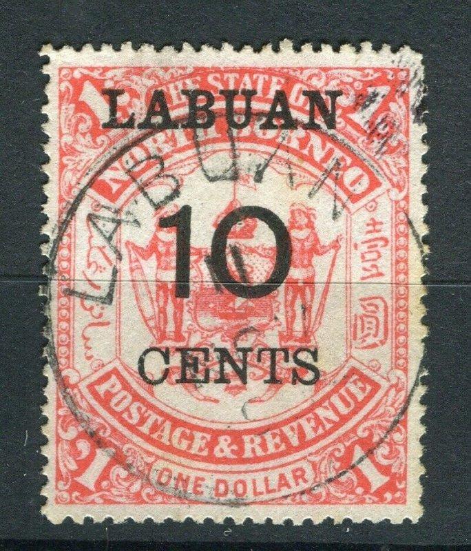 NORTH BORNEO LABUAN; 1895 classic surcharged ' 10 CENTS ' used value Cancel