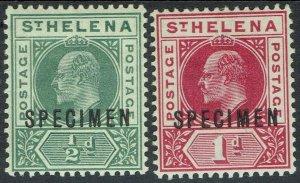 ST HELENA 1902 KEVII 1/2D AND 1D SPECIMEN SET